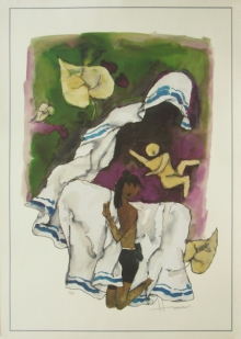 Figurative Serigraphs Art Painting title 'Mother 2' by artist M. F. Husain