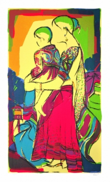 Figurative Serigraphs Art Painting title 'Mother And Child' by artist Vrindavan Solanki