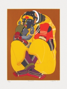 Figurative Serigraphs Art Painting title 'Mother And Child 1' by artist Thota Vaikuntam