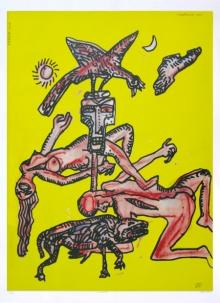 contemporary Serigraphs Art Painting title Nautanki by artist Jogen Chowdhury