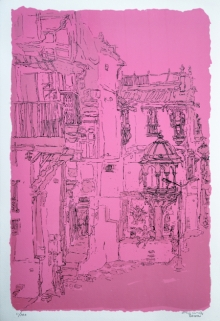 Cityscape Serigraphs Art Painting title Old City 1 by artist Vrindavan Solanki