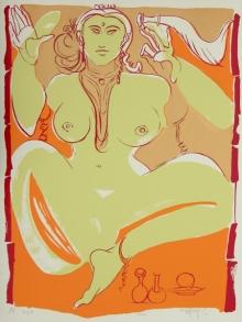 Figurative Serigraphs Art Painting title Shakti by artist Jatin Das