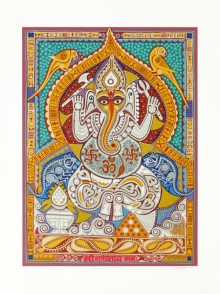 Religious Serigraphs Art Painting title 'Shree Ganeshay Namah' by artist Jyoti Bhatt