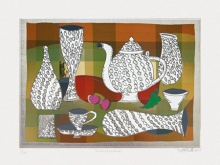 Still-life Serigraphs Art Painting title 'Teateallation' by artist Jyoti Bhatt
