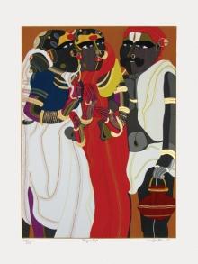 Figurative Serigraphs Art Painting title Telangana People by artist Thota Vaikuntam
