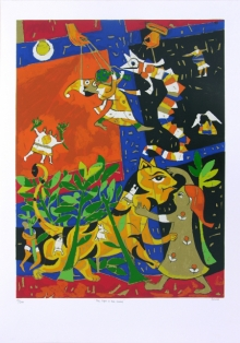 Figurative Serigraphs Art Painting title The Tiger The Snake by artist Jagdeep Smart