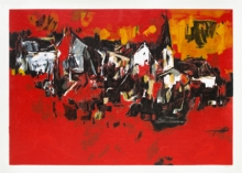 Abstract Serigraphs Art Painting title The Village by artist S. H. Raza