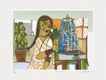 Figurative Serigraphs Art Painting title Totaramjee by artist Jyoti Bhatt