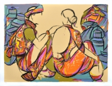 Vrindavan Solanki Paintings | Serigraphs Painting - Tribal Couple by artist Vrindavan Solanki | ArtZolo.com