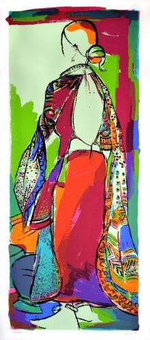 Figurative Serigraphs Art Painting title Tribal Woman by artist Vrindavan Solanki