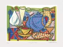 Still-life Serigraphs Art Painting title Villayatea Table by artist Jyoti Bhatt