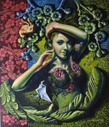 Figurative Acrylic Art Painting title 'Beauty' by artist Prashanta Nayak