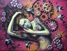 Figurative Acrylic Art Painting title 'Glow' by artist Prashanta Nayak