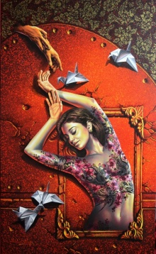 Figurative Acrylic Art Painting title 'Mirror Lady 2' by artist Prashanta Nayak