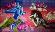 Figurative Acrylic Art Painting title 'Confluence Of Emotions 1' by artist Prashanta Nayak