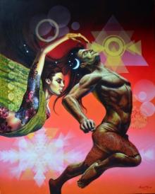 Figurative Acrylic Art Painting title 'Confluence Of Emotions 2' by artist Prashanta Nayak