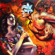 Figurative Acrylic Art Painting title 'Love' by artist Prashanta Nayak