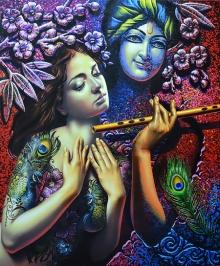 Prashanta Nayak Paintings | Acrylic Painting - Radha Krishna 1 by artist Prashanta Nayak | ArtZolo.com