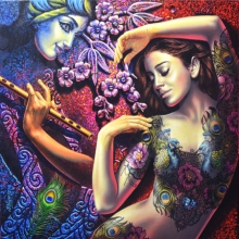 Prashanta Nayak | Acrylic Painting title Radha Krishna 2 on Canvas | Artist Prashanta Nayak Gallery | ArtZolo.com