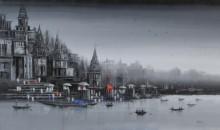 Ganga Ghat 13 | Painting by artist Reba Mandal | acrylic | Canvas