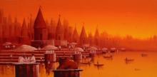 Cityscape Oil Art Painting title 'Banaras Ghat 13' by artist Reba Mandal