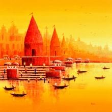 Cityscape Acrylic Art Painting title 'Banaras Ghat 14' by artist Reba Mandal