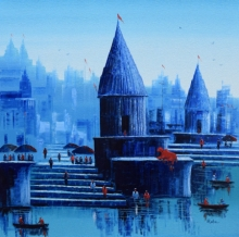 Reba Mandal | Oil Painting title Banaras Ghat 16 on Canvas | Artist Reba Mandal Gallery | ArtZolo.com
