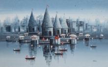 Cityscape Oil Art Painting title 'Banaras Ghat 18' by artist Reba Mandal