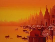 Reba Mandal | Oil Painting title Banaras Ghat 22 on Canvas | Artist Reba Mandal Gallery | ArtZolo.com