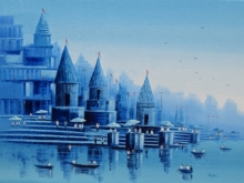 Reba Mandal | Oil Painting title Banaras Ghat 23 on Canvas | Artist Reba Mandal Gallery | ArtZolo.com