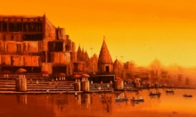 Cityscape Acrylic Art Painting title 'Banaras Ghat 24' by artist Reba Mandal