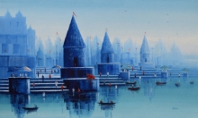 Reba Mandal | Oil Painting title Banaras Ghat 26 on Canvas | Artist Reba Mandal Gallery | ArtZolo.com