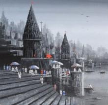 Ganga Ghat 1 | Painting by artist Reba Mandal | acrylic | Canvas