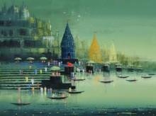art, painting, acrylic, canvas, cityscape, ganga ghat