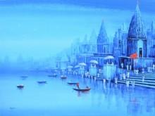 Ganga Ghat 8 | Painting by artist Reba Mandal | acrylic | Canvas