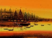 Ganga Ghat 9 | Painting by artist Reba Mandal | acrylic | Canvas