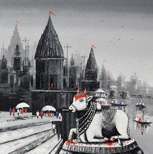 Cityscape Acrylic Art Painting title Lord Nandi At Banaras Ghat 3 by artist Reba Mandal