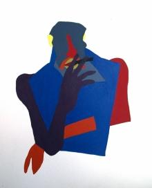 Figurative Acrylic Art Painting title Smoking Prohbited Acrylic On Board 10.5 by artist Prasanta Acharjee