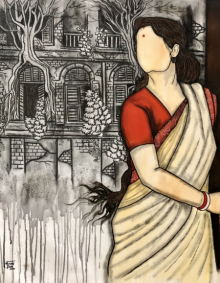 contemporary Acrylic-charcoal Art Painting title Bideshini by artist Mrinal Dutt