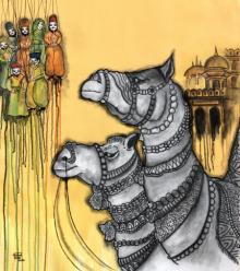 contemporary Acrylic-charcoal Art Painting title Jaisalmer by artist Mrinal Dutt