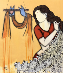 contemporary Acrylic Art Painting title Muralidhar by artist Mrinal Dutt