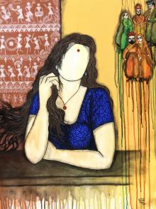 contemporary Acrylic Art Painting title Intezar by artist Mrinal Dutt