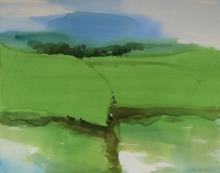 Prashant Prabhu | Watercolor Painting title Abstraction In Agashi Landscape 4 31x40 on Paper | Artist Prashant Prabhu Gallery | ArtZolo.com