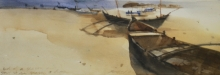 Seascape Watercolor Art Painting title 'Depth Of Tranquility' by artist Prashant Prabhu