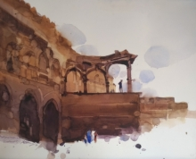 Prashant Prabhu | Watercolor Painting title Discussing The Historical Landscape on Paper | Artist Prashant Prabhu Gallery | ArtZolo.com