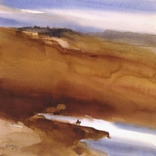 Landscape Watercolor Art Painting title 'Exit Or Exile' by artist Prashant Prabhu