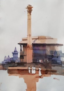 Landscape Watercolor Art Painting title 'Height Of Heritage At Belur 1' by artist Prashant Prabhu