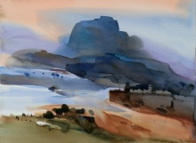 Prashant Prabhu | Watercolor Painting title Historical Blues 22x30 on Paper | Artist Prashant Prabhu Gallery | ArtZolo.com