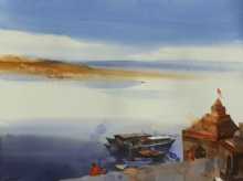 Landscape Watercolor Art Painting title 'I Learnt From The River' by artist Prashant Prabhu
