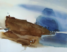 Landscape Watercolor Art Painting title 'Immigrating Landscape Towards Abstract' by artist Prashant Prabhu